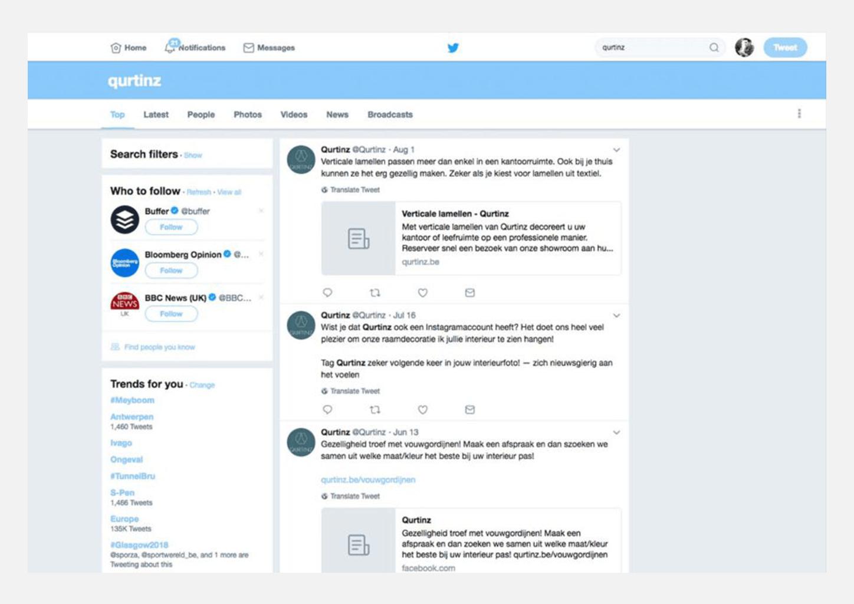 Screenshot twitter account Qurtinz